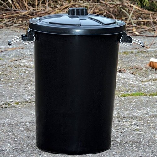Black Refuse Bin with Lid EQU20